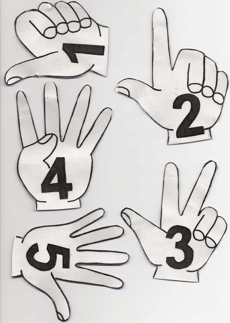 Les nombres de 1 à 10 sur les doigts (format pdf)